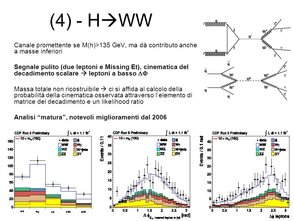 (4) - HWW Canale promettente se M(h)>135 GeV, ma dà contributo anche a masse inferiori.