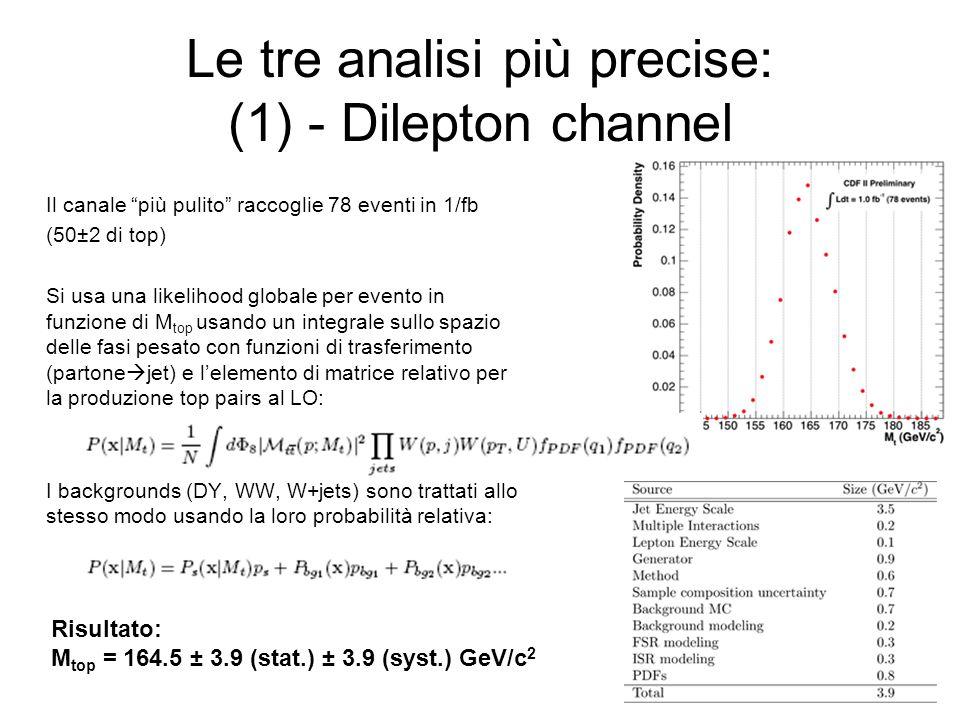 Le tre analisi più precise: (1) - Dilepton channel