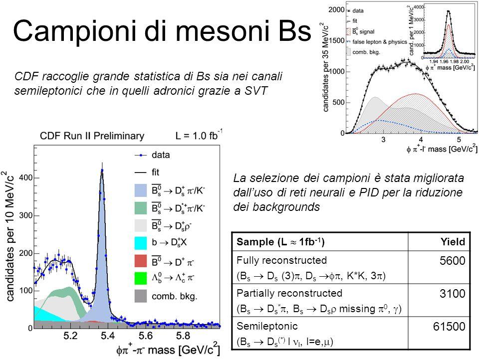 Campioni di mesoni Bs CDF raccoglie grande statistica di Bs sia nei canali. semileptonici che in quelli adronici grazie a SVT.