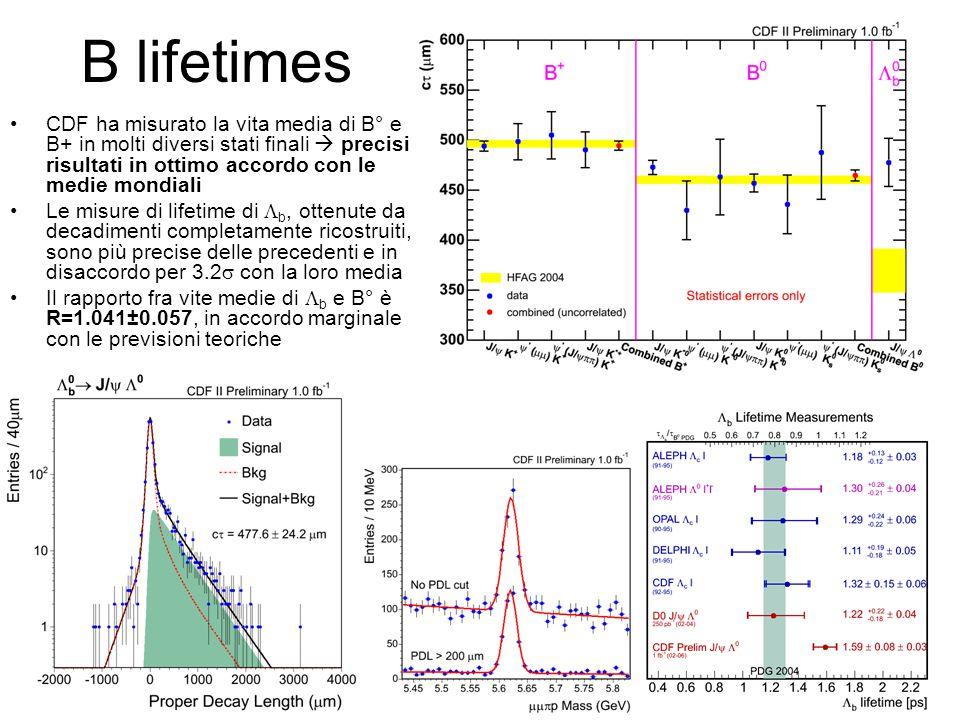 B lifetimes CDF ha misurato la vita media di B° e B+ in molti diversi stati finali  precisi risultati in ottimo accordo con le medie mondiali.