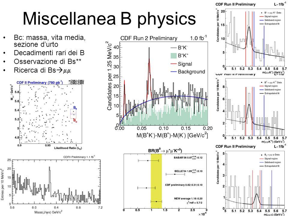 Miscellanea B physics Bc: massa, vita media, sezione d'urto