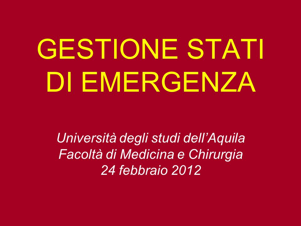 GESTIONE STATI DI EMERGENZA