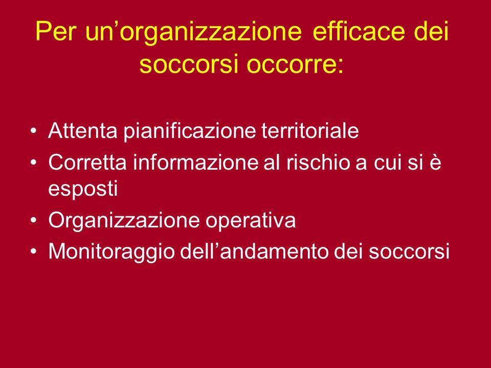 Per un'organizzazione efficace dei soccorsi occorre: