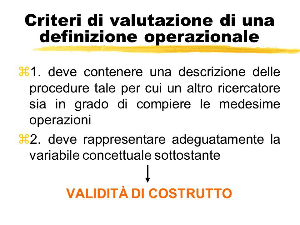Criteri di valutazione di una definizione operazionale