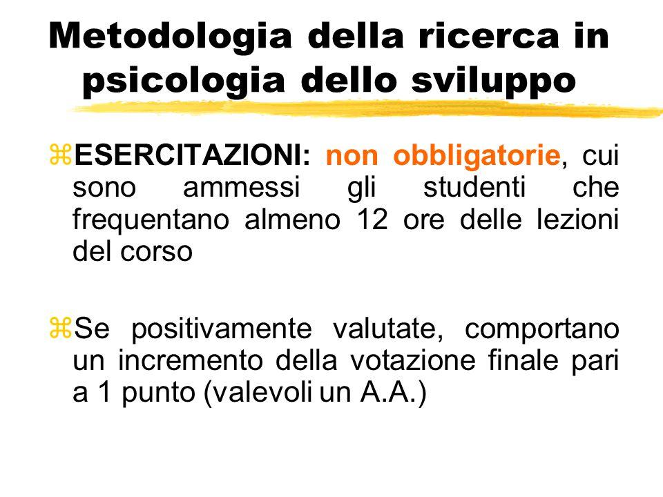 Metodologia della ricerca in psicologia dello sviluppo