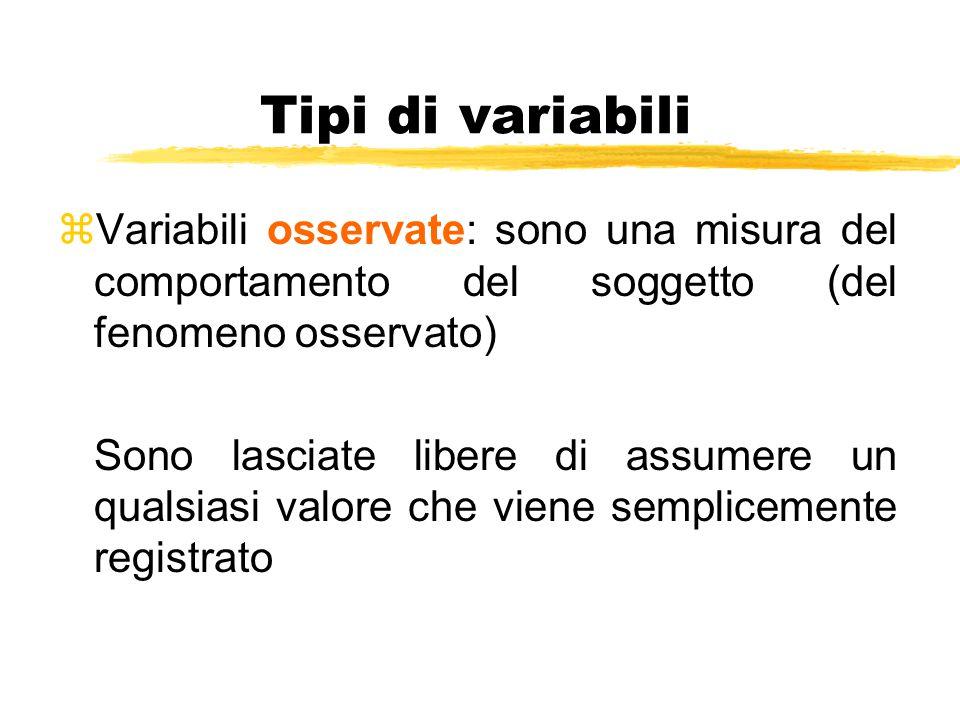 Tipi di variabili Variabili osservate: sono una misura del comportamento del soggetto (del fenomeno osservato)