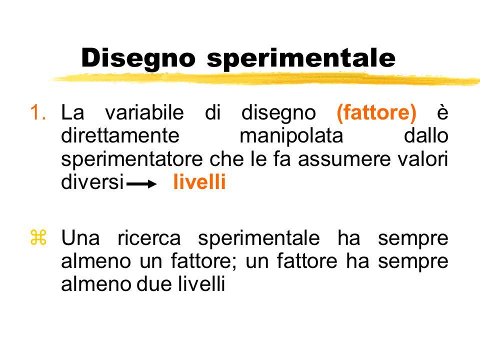 Disegno sperimentale La variabile di disegno (fattore) è direttamente manipolata dallo sperimentatore che le fa assumere valori diversi livelli.
