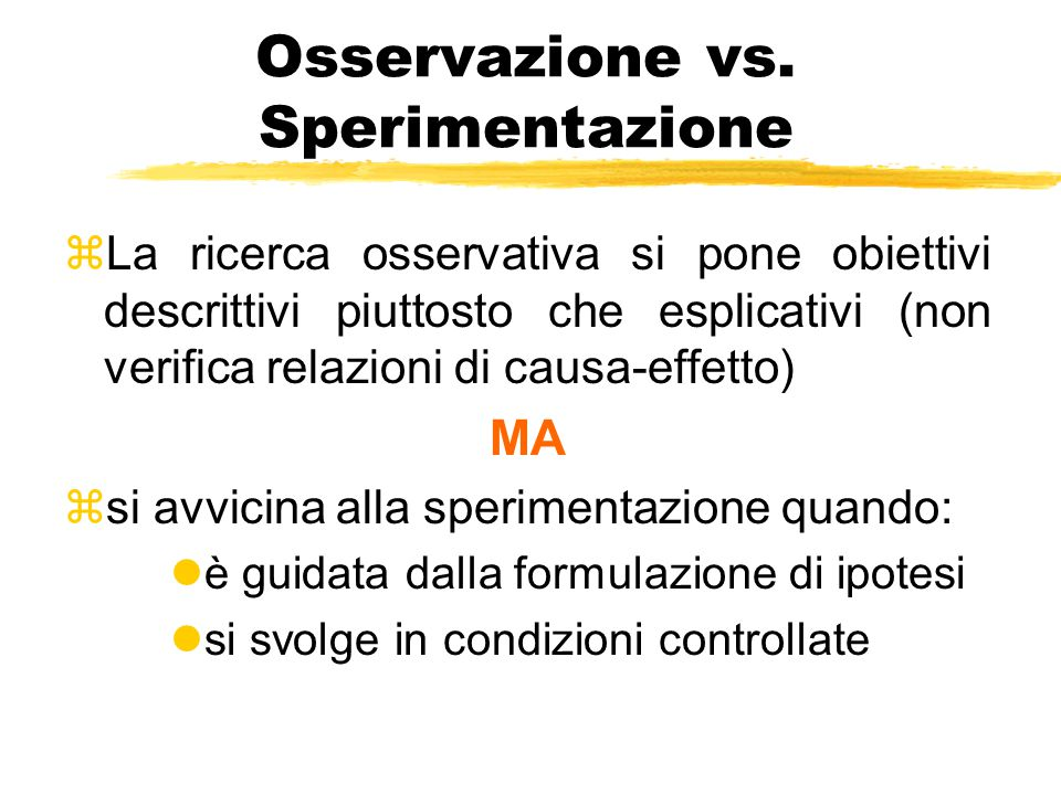 Osservazione vs. Sperimentazione