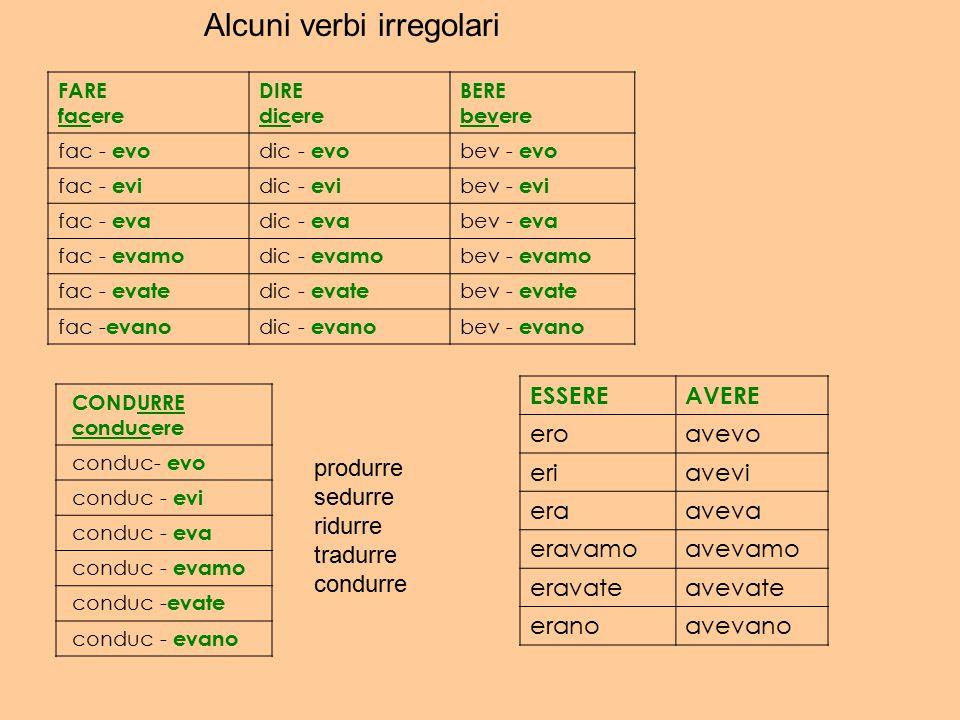 Alcuni verbi irregolari