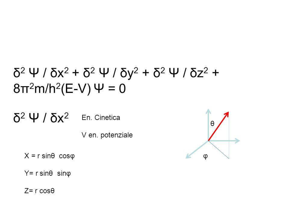 δ2 Ψ / δx2 + δ2 Ψ / δy2 + δ2 Ψ / δz2 + 8π2m/h2(E-V) Ψ = 0