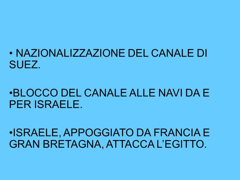 NAZIONALIZZAZIONE DEL CANALE DI SUEZ.