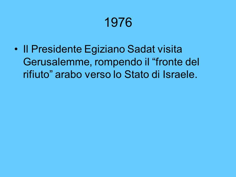 1976 Il Presidente Egiziano Sadat visita Gerusalemme, rompendo il fronte del rifiuto arabo verso lo Stato di Israele.