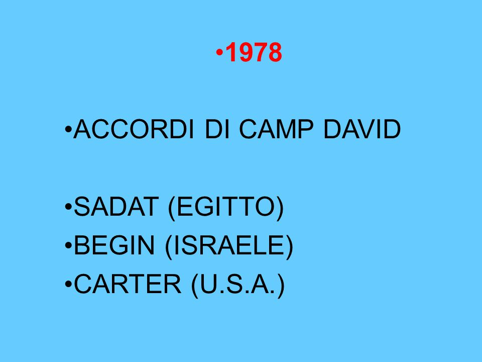 1978 ACCORDI DI CAMP DAVID SADAT (EGITTO) BEGIN (ISRAELE) CARTER (U.S.A.)