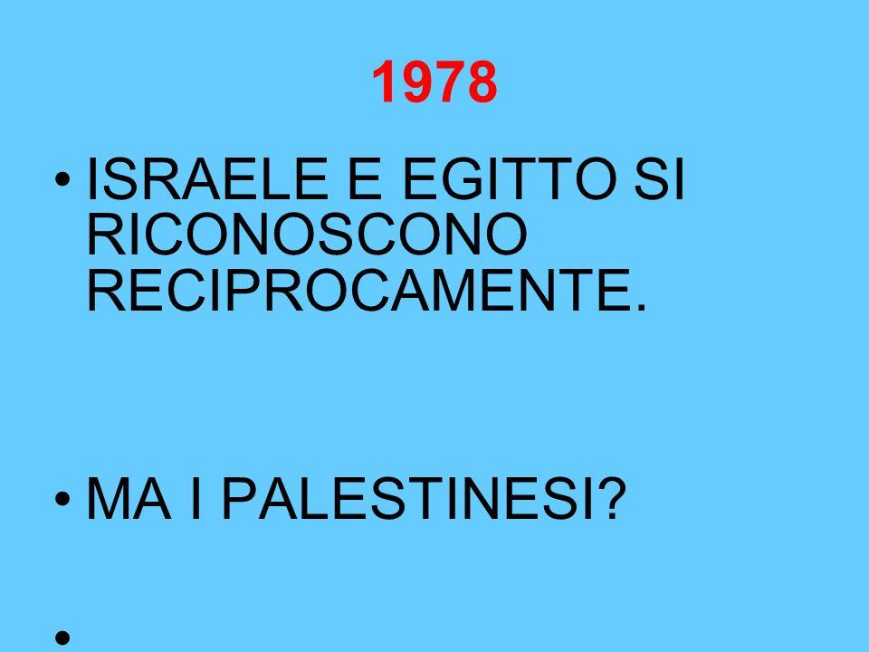 1978 ISRAELE E EGITTO SI RICONOSCONO RECIPROCAMENTE. MA I PALESTINESI