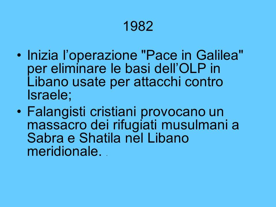 1982 Inizia l'operazione Pace in Galilea per eliminare le basi dell'OLP in Libano usate per attacchi contro Israele;