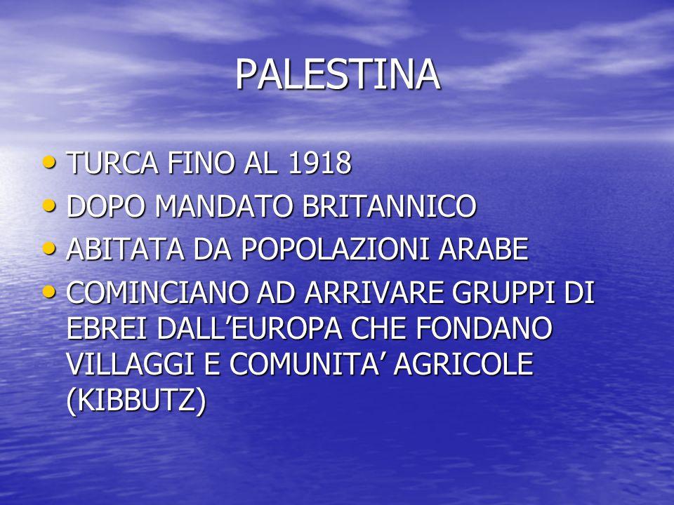 PALESTINA TURCA FINO AL 1918 DOPO MANDATO BRITANNICO