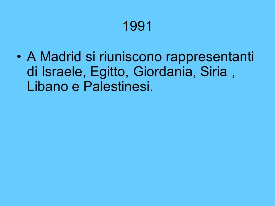 1991 A Madrid si riuniscono rappresentanti di Israele, Egitto, Giordania, Siria , Libano e Palestinesi.
