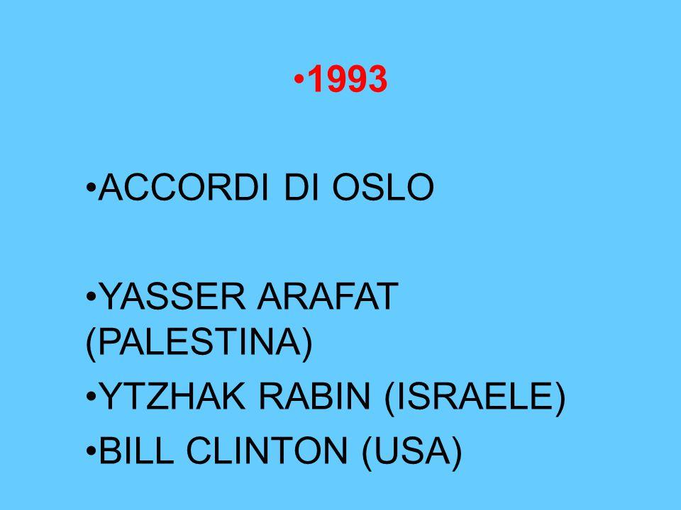 1993 ACCORDI DI OSLO YASSER ARAFAT (PALESTINA) YTZHAK RABIN (ISRAELE) BILL CLINTON (USA)