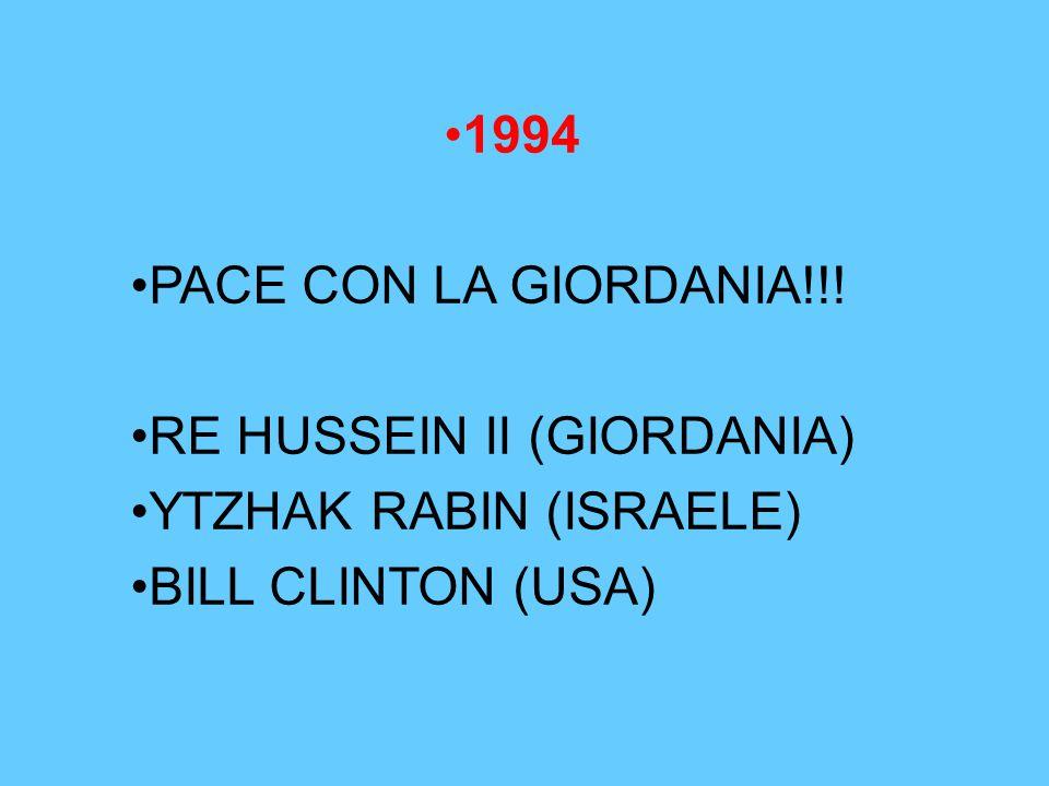 1994 PACE CON LA GIORDANIA!!! RE HUSSEIN II (GIORDANIA) YTZHAK RABIN (ISRAELE) BILL CLINTON (USA)