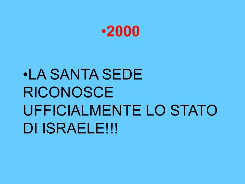 2000 LA SANTA SEDE RICONOSCE UFFICIALMENTE LO STATO DI ISRAELE!!!