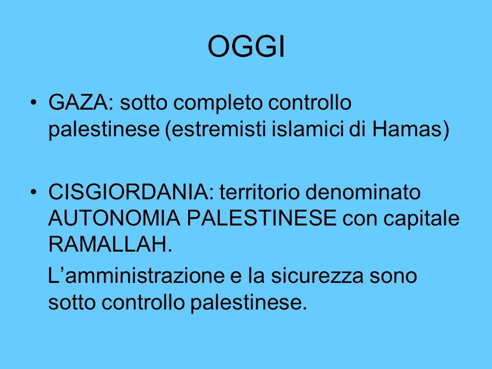 OGGI GAZA: sotto completo controllo palestinese (estremisti islamici di Hamas)