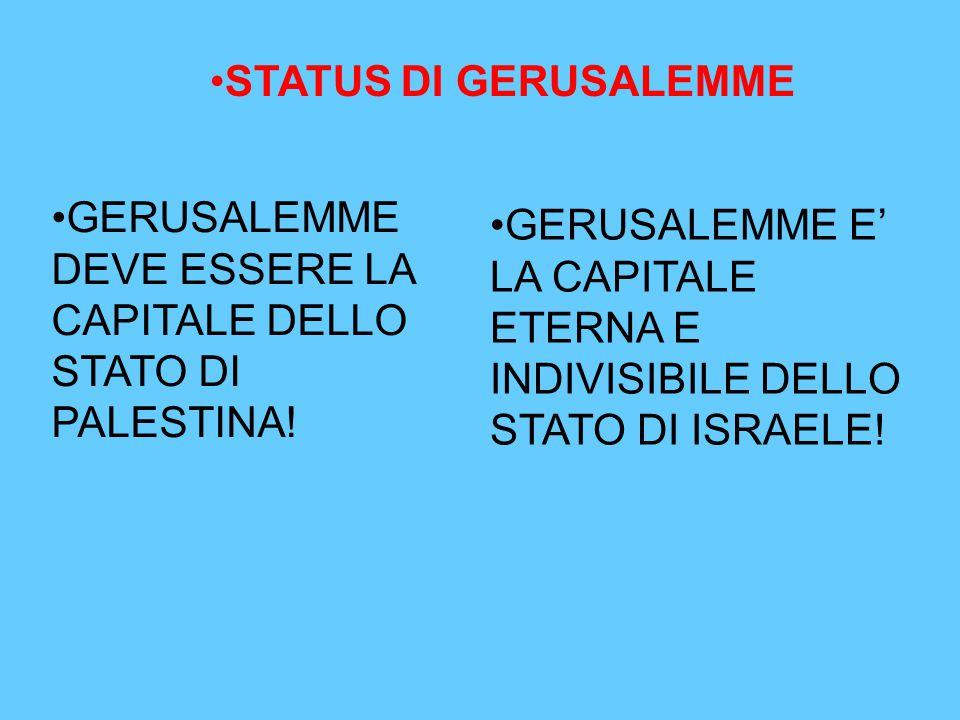 STATUS DI GERUSALEMME GERUSALEMME DEVE ESSERE LA CAPITALE DELLO STATO DI PALESTINA!