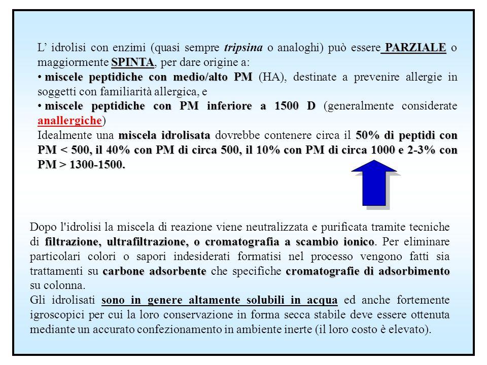 L' idrolisi con enzimi (quasi sempre tripsina o analoghi) può essere PARZIALE o maggiormente SPINTA, per dare origine a: