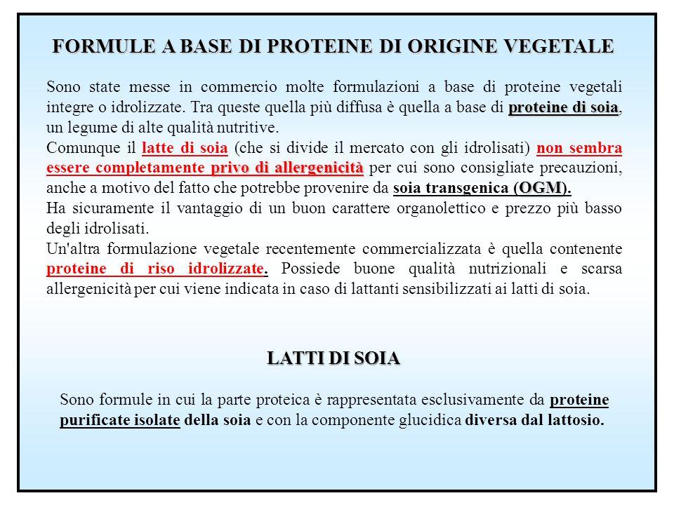 FORMULE A BASE DI PROTEINE DI ORIGINE VEGETALE
