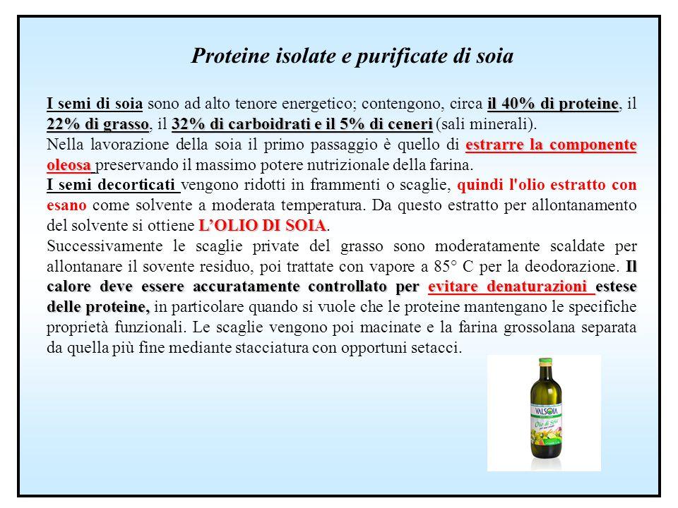 Proteine isolate e purificate di soia