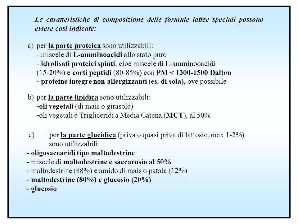 Le caratteristiche di composizione delle formule lattee speciali possono essere così indicate:
