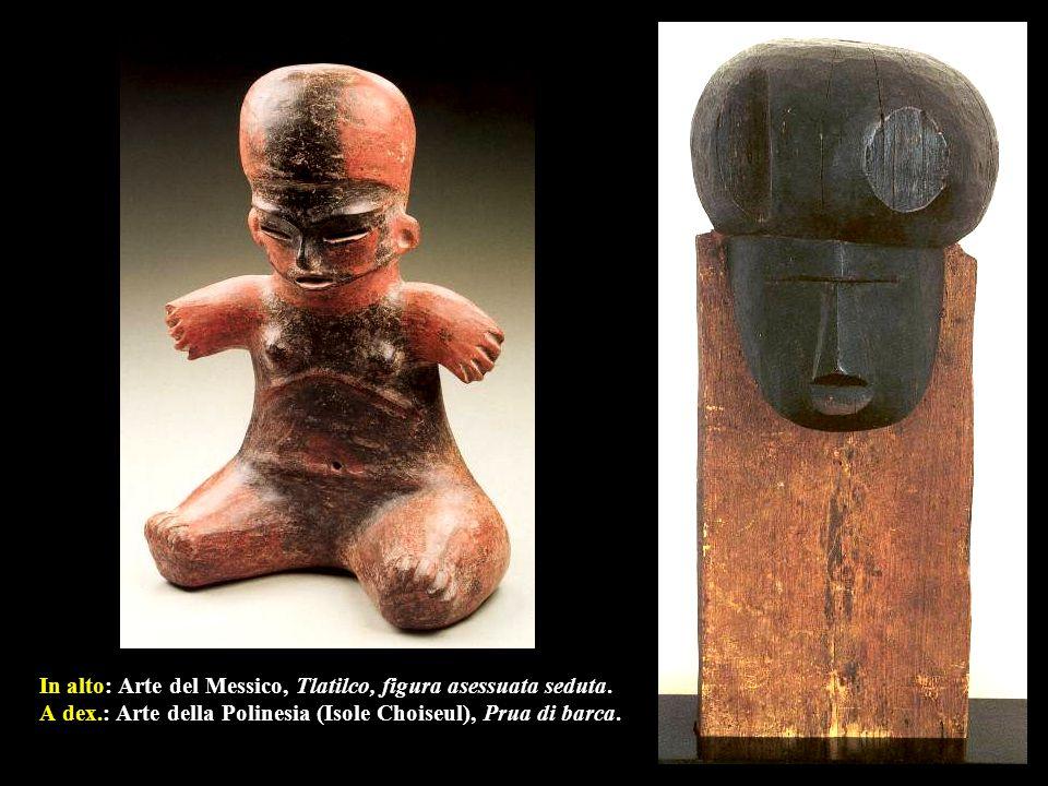 In alto: Arte del Messico, Tlatilco, figura asessuata seduta. A dex
