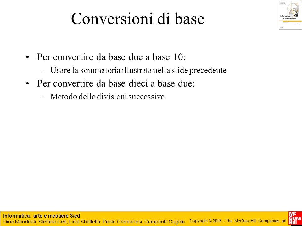 Conversioni di base Per convertire da base due a base 10: