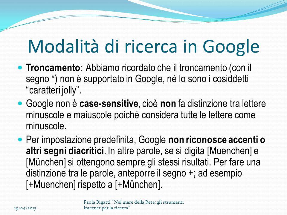 Modalità di ricerca in Google