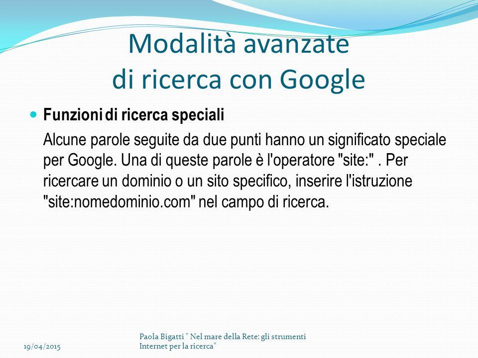 Modalità avanzate di ricerca con Google