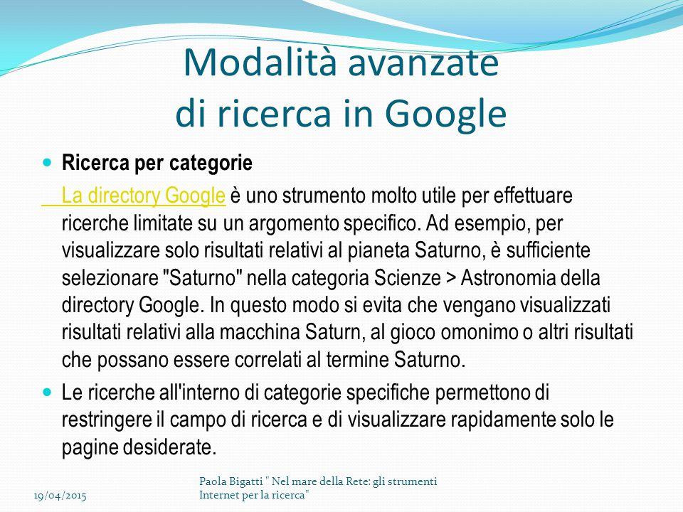 Modalità avanzate di ricerca in Google