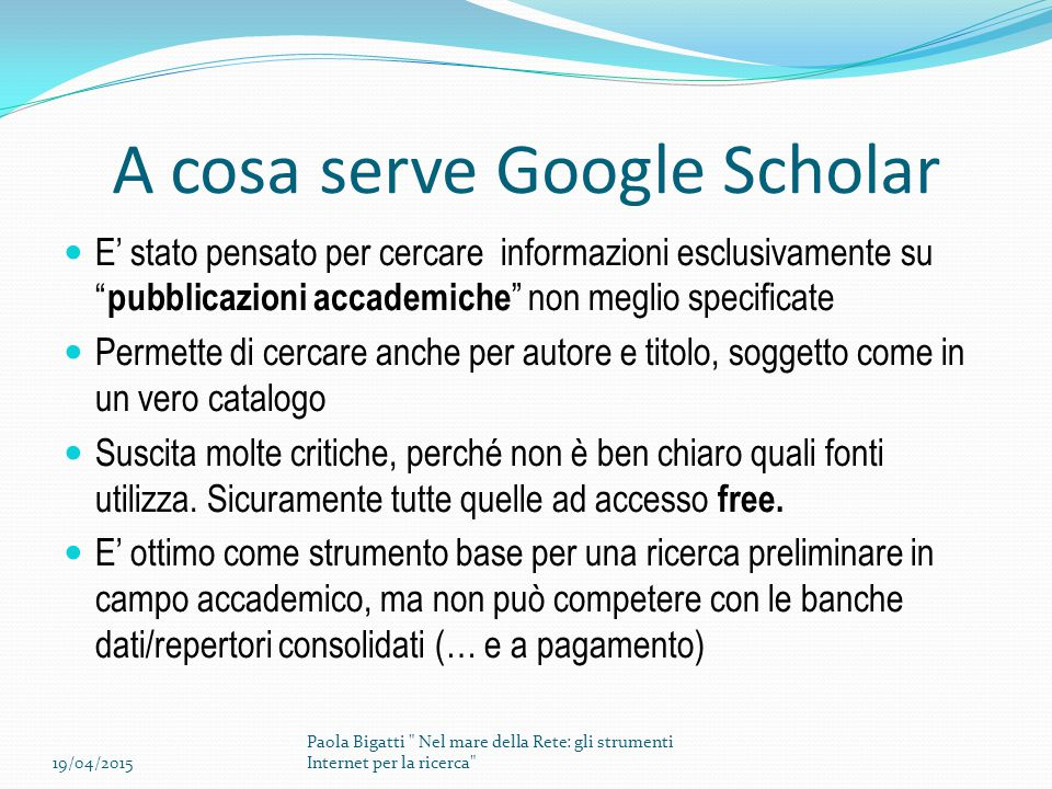 A cosa serve Google Scholar