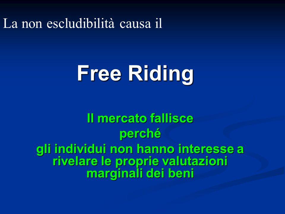 Free Riding La non escludibilità causa il Il mercato fallisce perché
