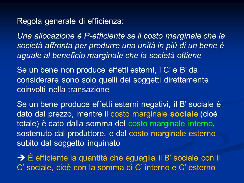 Regola generale di efficienza: