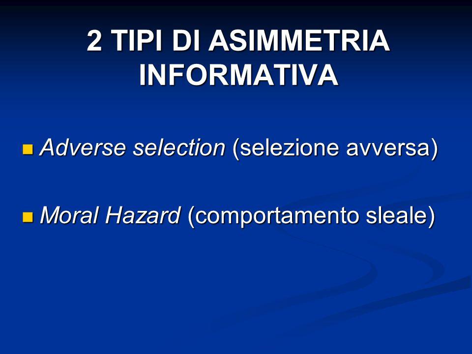 2 TIPI DI ASIMMETRIA INFORMATIVA