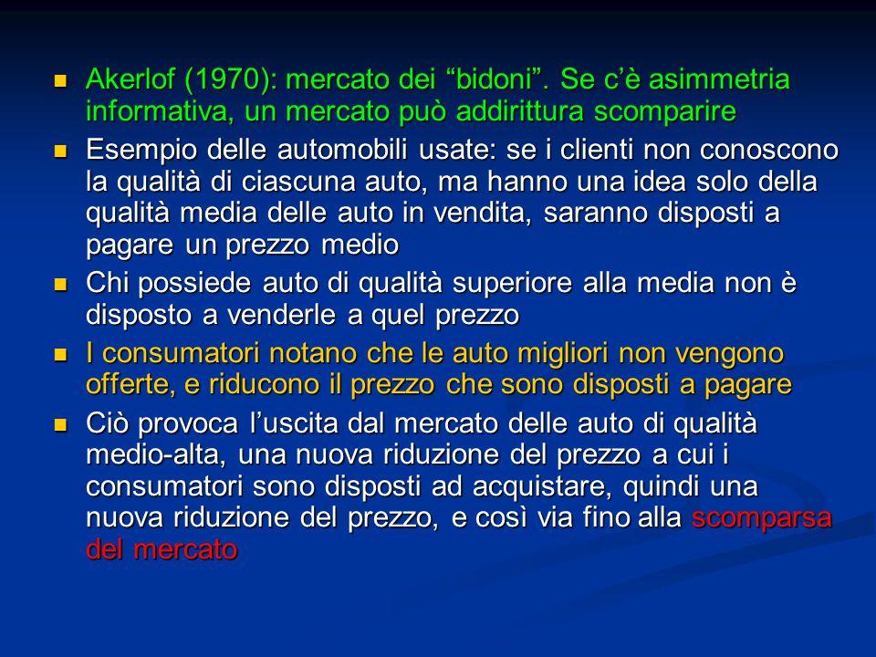 Akerlof (1970): mercato dei bidoni