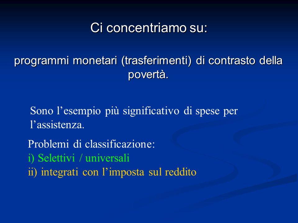 programmi monetari (trasferimenti) di contrasto della povertà.