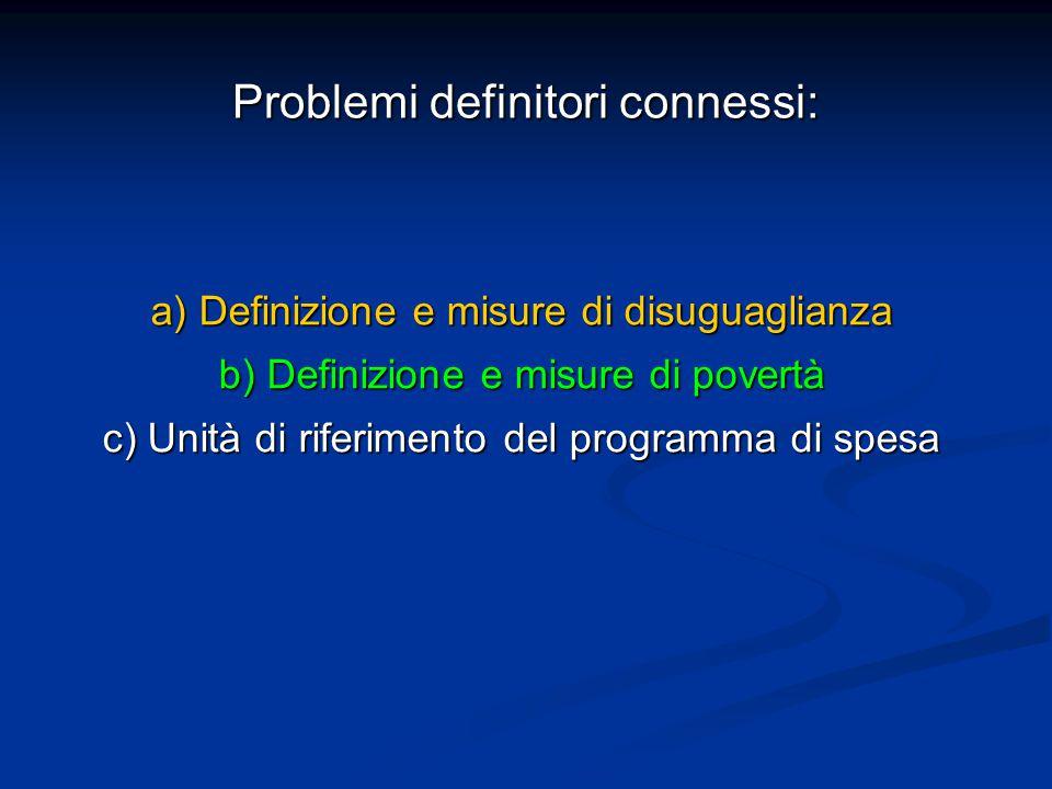 Problemi definitori connessi: