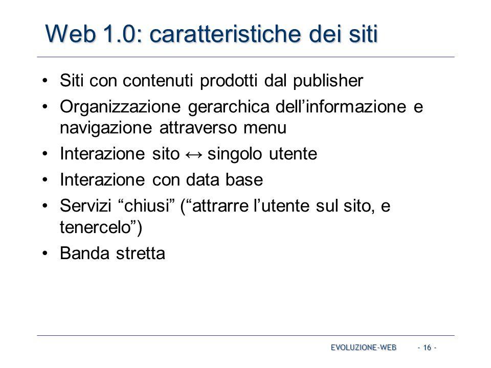Web 1.0: caratteristiche dei siti