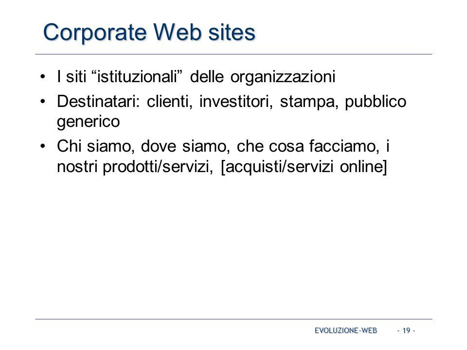Corporate Web sites I siti istituzionali delle organizzazioni