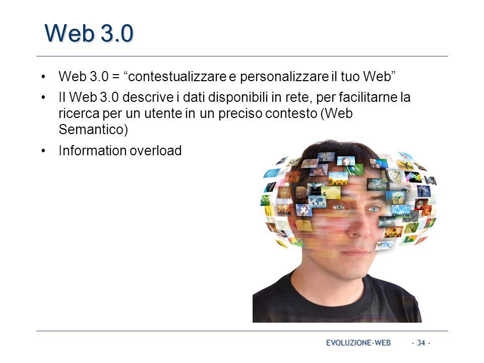 Web 3.0 Web 3.0 = contestualizzare e personalizzare il tuo Web