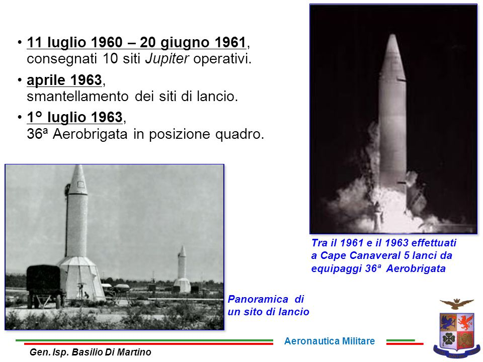 11 luglio 1960 – 20 giugno 1961, consegnati 10 siti Jupiter operativi.