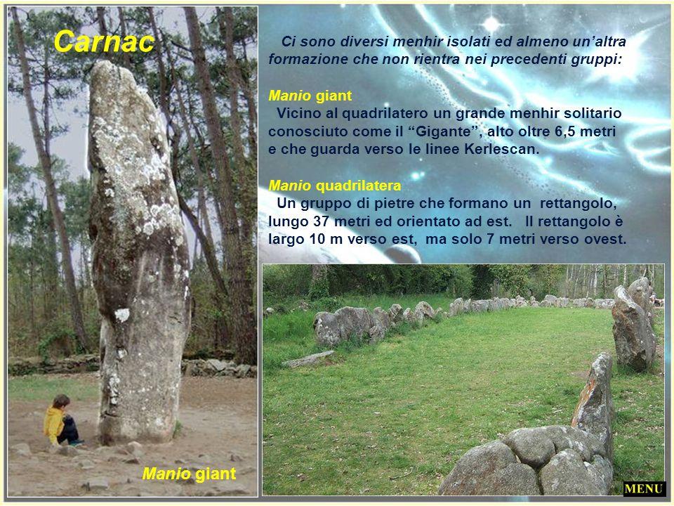 Carnac Ci sono diversi menhir isolati ed almeno un'altra formazione che non rientra nei precedenti gruppi: