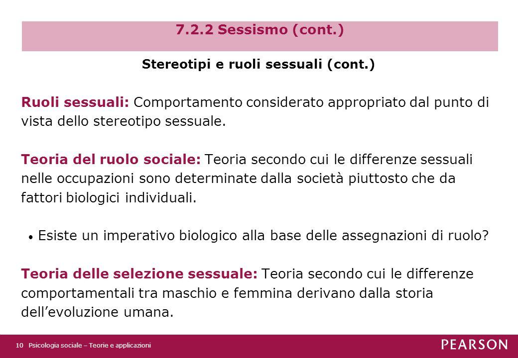 Stereotipi e ruoli sessuali (cont.)