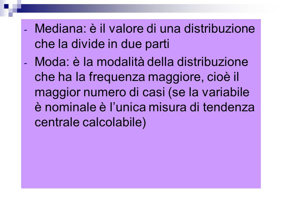 Mediana: è il valore di una distribuzione che la divide in due parti