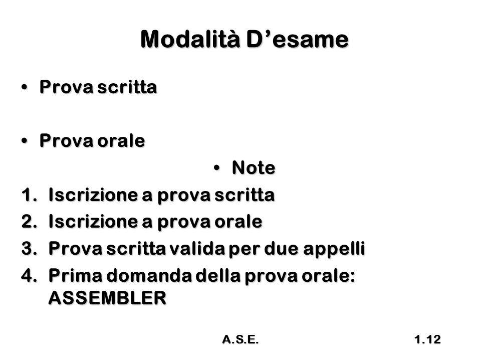 Modalità D'esame Prova scritta Prova orale Note